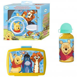 WINNIE PUUH Frühstücks-Set für Kinder Kindergeschirr Trinkflasche Brotdose