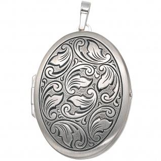 Medaillon oval 925 Sterling Silber mattiert geschwärzt Anhänger zum Öffnen - Vorschau 4