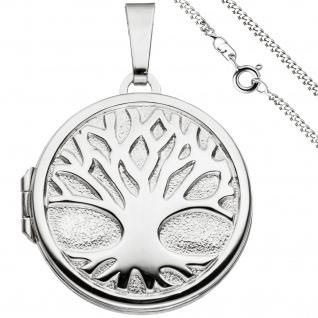 Medaillon Anhänger Baum des Lebens Weltenbaum rund 925 Silber mit Kette 60 cm