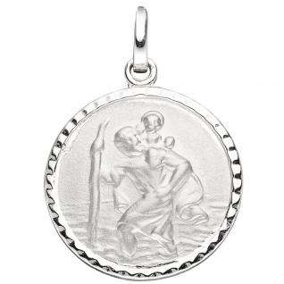 Anhänger Schutzpatron Christopherus rund 925 Sterling Silber mattiert