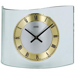 AMS 130 Tischuhr Quarz analog golden geschwungen mit Glas