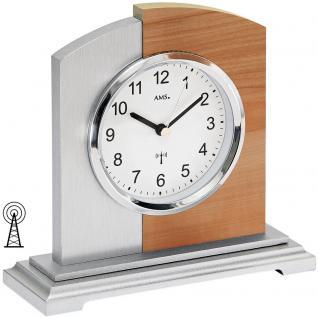 AMS 5146 Tischuhr Funk Funktischuhr analog modern silbern mit Kernbuche Optik