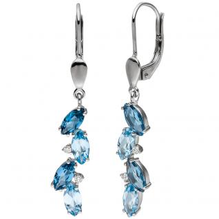Ohrhänger 585 Gold Weißgold 4 Diamanten Brillanten 8 Blautopase hellblau blau
