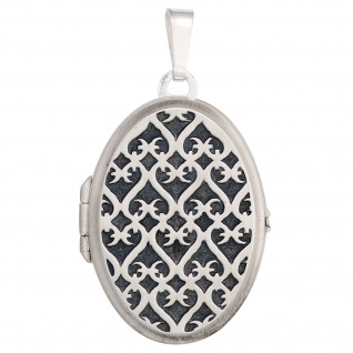 Medaillon oval 925 Sterling Silber rhodiniert mattiert Anhänger zum Öffnen - Vorschau 4