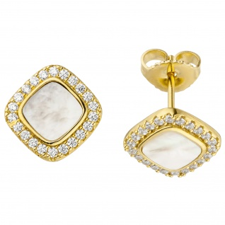 Ohrstecker 925 Sterling Silbervergoldet 2 Perlmutt Einlagen 44 Zirkonia Ohrringe