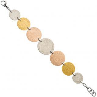 Armband Edelstahl tricolor dreifarbig beschichtet 20 cm - Vorschau