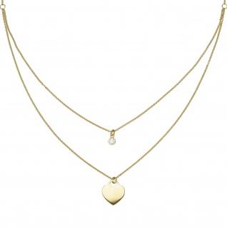 Collier Herz 925 Sterling Silber gold vergoldet 1 Zirkonia 44 cm