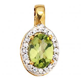 Anhänger oval 585 Gold Gelbgold bicolor 1 Peridot grün 20 Diamanten - Vorschau 1
