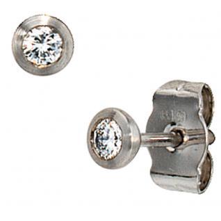 Ohrstecker rund 950 Platin matt 2 Diamanten Brillanten Ohrringe Platinohrringe