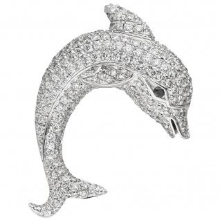 Anhänger Delfin 585 Gold Weißgold 204 Diamanten Brillanten