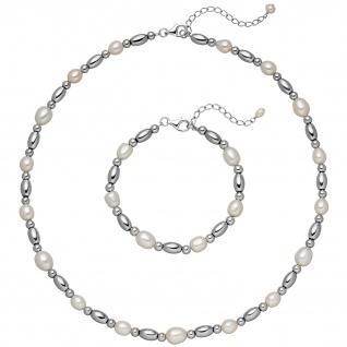 Schmuck-Set aus Kette und Armband 925 Sterling Silber mit Perlen und Hämatit