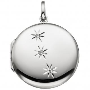 Medaillon rund zum Öffnen für 2 Fotos 925 Sterling Silber 3 Zirkonia