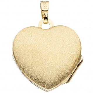 Medaillon Herz Anhänger zum Öffnen für 2 Fotos 333 Gold mit Kette 50 cm - Vorschau 4