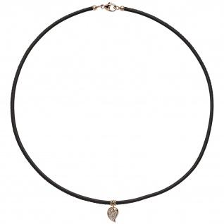 Collier Halskette Leder taupe mit 585 Gold Rotgold 17 Diamanten Brillanten 45 cm
