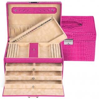 Sacher Schmuckkoffer Schmuckkasten JULIA pink Schubladen abschließbar Geheimfach