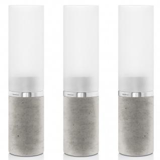 Blomus Windlichter Set FARO 3-teilig Beton mit Edelstahl matt und Glas