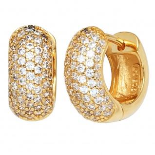 Creolen breit rund 925 Sterling Silber gold vergoldet mit Zirkonia Ohrringe