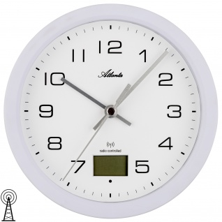 Atlanta 4504/0 Wanduhr Baduhr Funk Funkwanduhr digital weiß Thermometer