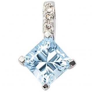 Anhänger 585 Gold Weißgold 1 Blautopas blau hellblau 3 Diamanten Goldanhänger