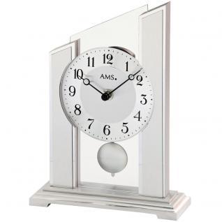 AMS 1169 Tischuhr Quarz mit Pendel silbern mit Glas