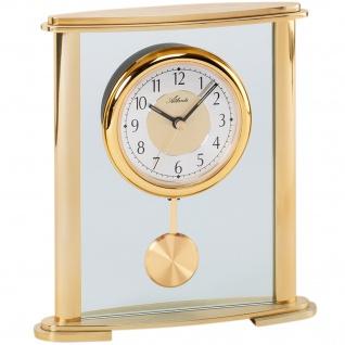 Atlanta 3069 Tischuhr Quarz analog golden mit Pendel und Glas Pendeluhr