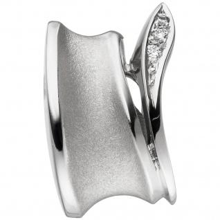 Anhänger 585 Gold Weißgold teil matt 3 Diamanten Brillanten Diamantanhänger