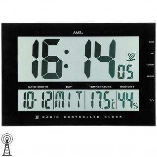 AMS 5895 Wanduhr Tischuhr Funk schwarz digital Datum Thermometer Wecker
