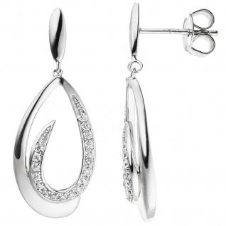 Ohrhänger Tropfen 925 Silber 36 Zirkonia Ohrringe Ohrstecker Silberohrringe