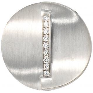 Anhänger rund 585 Gold Weißgold mattiert 9 Diamanten Brillanten 0, 14ct.