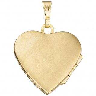 Medaillon Herz Anhänger zum Öffnen für Fotos 333 Gold 1 Zirkonia mit Kette 45 cm - Vorschau 4