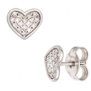 Ohrstecker Herz Herzen 585 Gold Weißgold 34 Diamanten 0, 14ct. Ohrringe