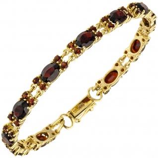Armband 375 Gold Gelbgold 55 Granate rot 18 cm Goldarmband Granatarmband