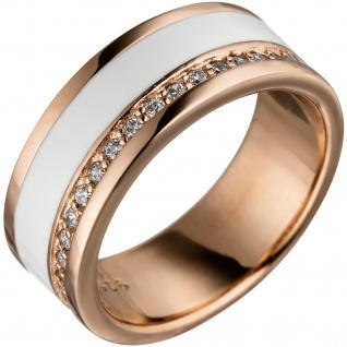 Damen Ring 925 Sterling Silber rotgold vergoldet mit Zirkonia weiße Lackeinlage - Vorschau