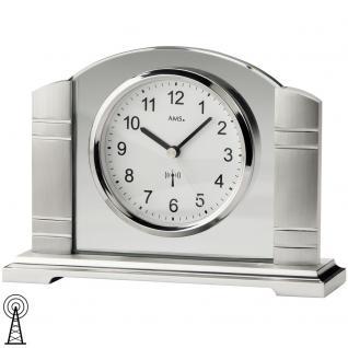 AMS 5142 Tischuhr Funk silbern Metall gebürstet mit Glas Funktischuhr