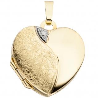 Medaillon Herz Anhänger zum Öffnen für 2 Fotos 333 Gold mit Kette 50 cm - Vorschau 3
