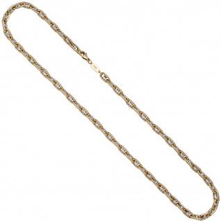 Halskette Kette 585 Gold Gelbgold Weißgold bicolor 50 cm Goldkette Karabiner - Vorschau 2