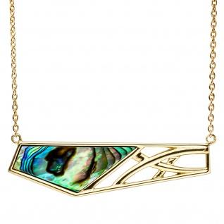 Collier Statement Halskette Abalone 925 Silber gold vergoldet 45 cm Kette