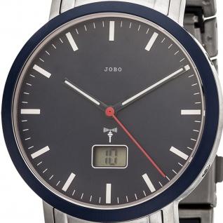 JOBO Herren Armbanduhr Funk Edelstahl Keramik blau mit Datum - Vorschau 2