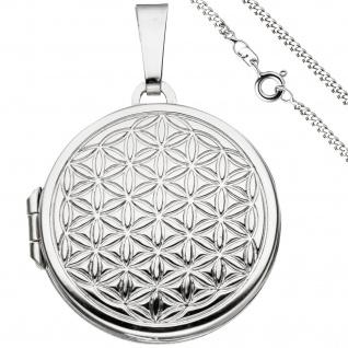 Medaillon Blume des Lebens rund Anhänger zum Öffnen 925 Silber mit Kette 60 cm