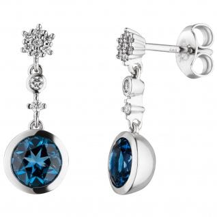 Ohrhänger 585 Weißgold 18 Diamanten Brillanten 2 Blautopase blau