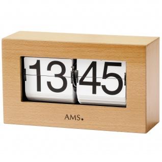 AMS 1175/18 Tischuhr Quarz Holz Buche massiv Klappzahlen Klappzahlenuhr