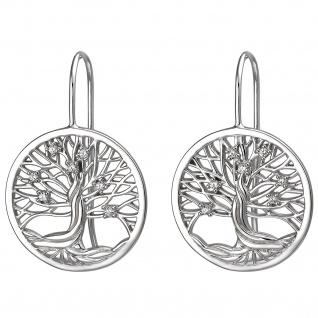 Ohrhänger Baum 925 Sterling Silber 14 Zirkonia Ohrringe Silberohrringe