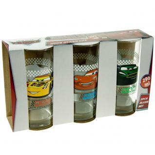 CARS Kinder Gläser-Set, 3 verschiedene Gläser 290ml im Geschenkkarton