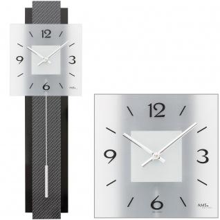 AMS 7313 Wanduhr Quarz mit Pendel schwarz grau Pendeluhr mit Carbon und Glas