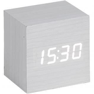 Atlanta 1134/0 Wecker Würfel digital Holz Optik weiß Datum Thermometer