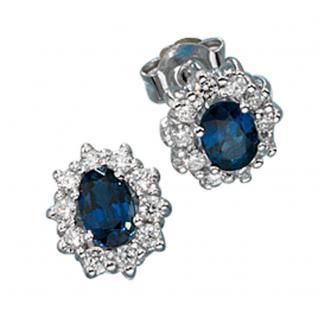 Ohrstecker 585 Gold Weißgold 20 Diamanten Brillanten 2 Safire blau Ohrringe