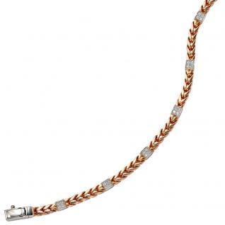 Armband 585 Gold Rotgold Weißgold bicolor 28 Diamanten Brillanten 19 cm - Vorschau 3