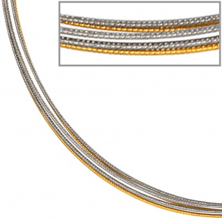 Halsreif 5-reihig bicolor vergoldet 42 cm Halskette Kette Silberkette Statement - Vorschau 2