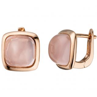 Creolen 925 Silber rotgold vergoldet 2 rosa Glassteine Ohrringe