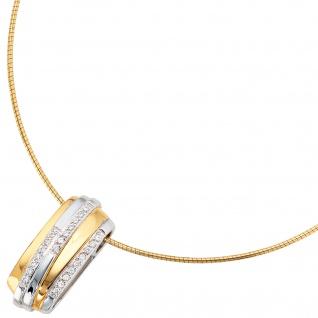 Anhänger 925 Sterling Silber rhodiniert bicolor vergoldet mit Zirkonia - Vorschau 3